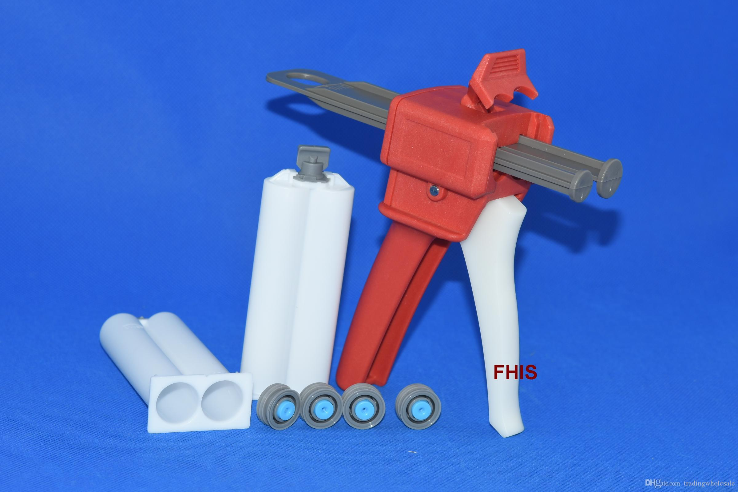 Latest style Chinese Red 50ML 1: 1 2: 1 AB glue gun 1sets & 2pcs 1: 1AB cones