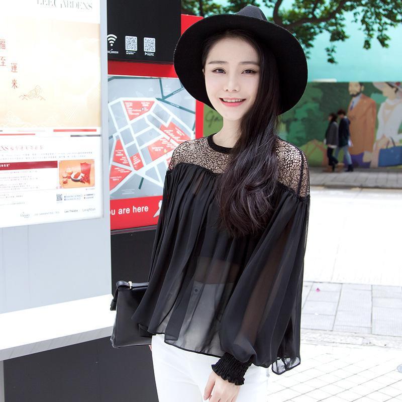 Camisa Chiffon Mulher Manga Longa 2016 Roupas de Primavera Novo Padrão Coreano Terno-vestido Irregular Oco Out Perspectiva Sexy Renderização Sem Forro