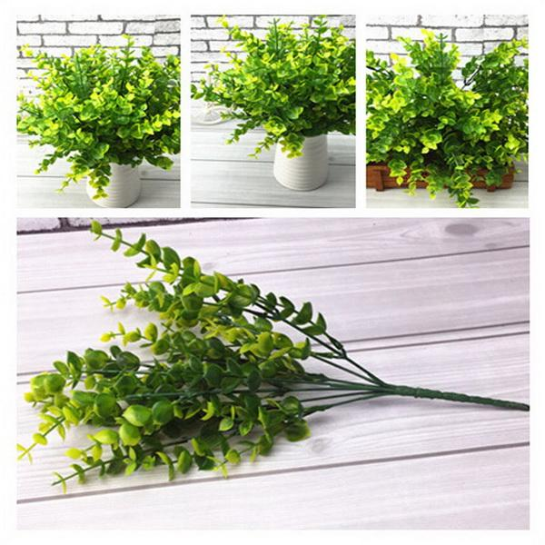 Plastik Bitki Yeni 7-Dalları Yapay Sahte Plastik İpek Okaliptüs Bitki Çiçekler Ev Dekorasyonu Yeşil Bitkiler Bahçe Ipek Bitkiler