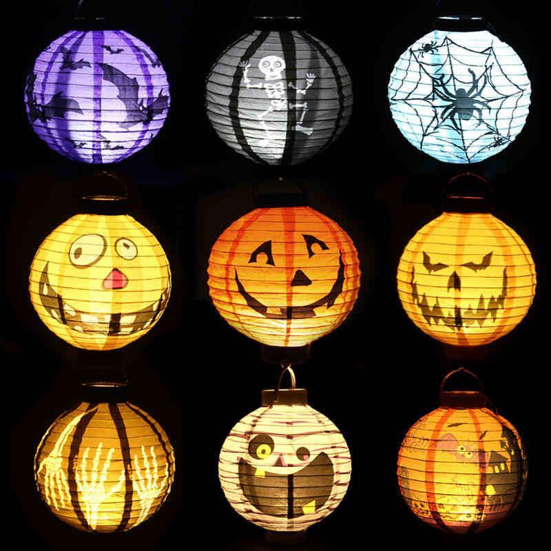 هالوين العناصر الزخرفية الدعائم الفوانيس هالوين جاك أضواء اليقطين المحمولة شنقا الفوانيس ورقة اليقطين