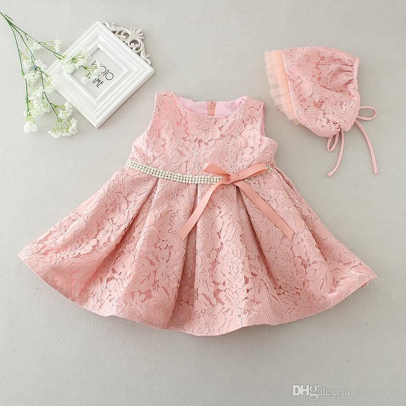 0a910615b Latest set of one year old baby girl baptism dresses princess wedding  vestidos tutu 2017 baby girl christening gown with hat