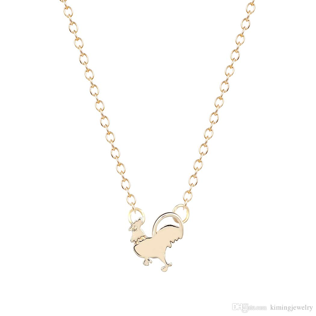 10pcs/lot Pendant Necklace Chicken Necklace chicken charm necklack rooster necklace animal jewelry For Girl Gift