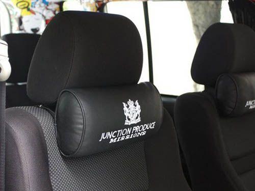 1Pcs JP Junction Black Leather Car Seat Neck Pillow Headrest Cushion For All Car