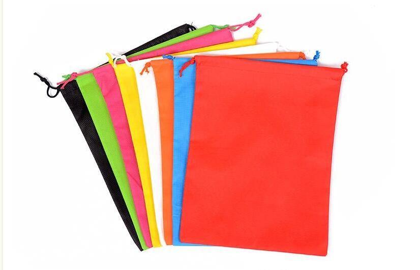 Frete grátis por atacado-100pcs 40 centímetros Hx30cm saco não tecido com corda saco de armazenamento várias cores para sapato / roupas à prova de poeira