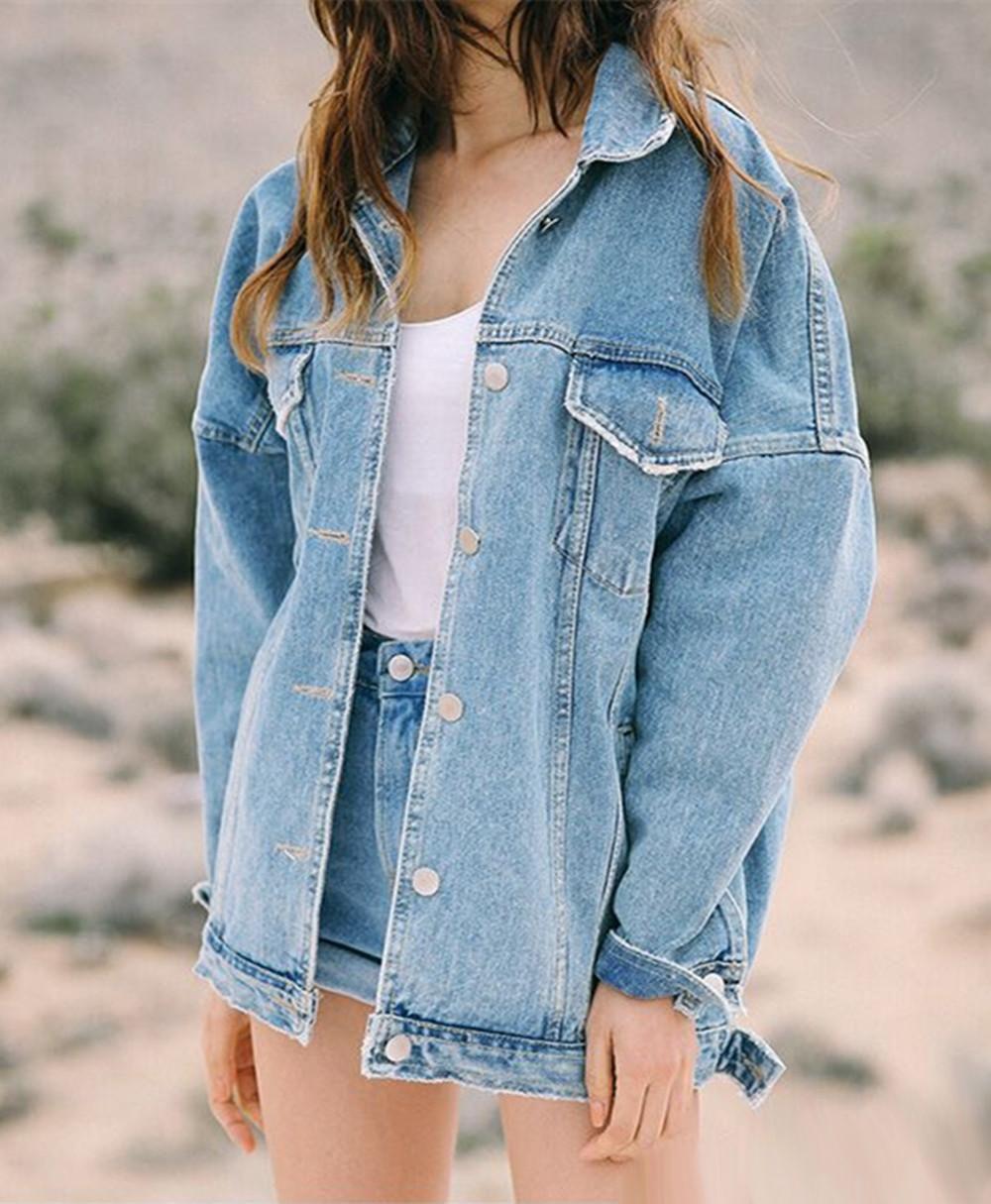 Осень зима женщин джинсовая свободная большая куртка куртка пальто женские длинные джинсовые размеры рукав женский bwdwe
