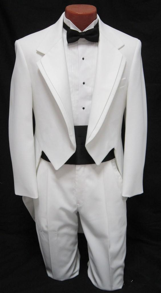 2016 maßgeschneiderte JUNGEN Weiß Smoking Frack Dance Kostüm Tux Tails Mantel Jungen Anzüge Kinder Smoking (Jacke + Pants + Bow)