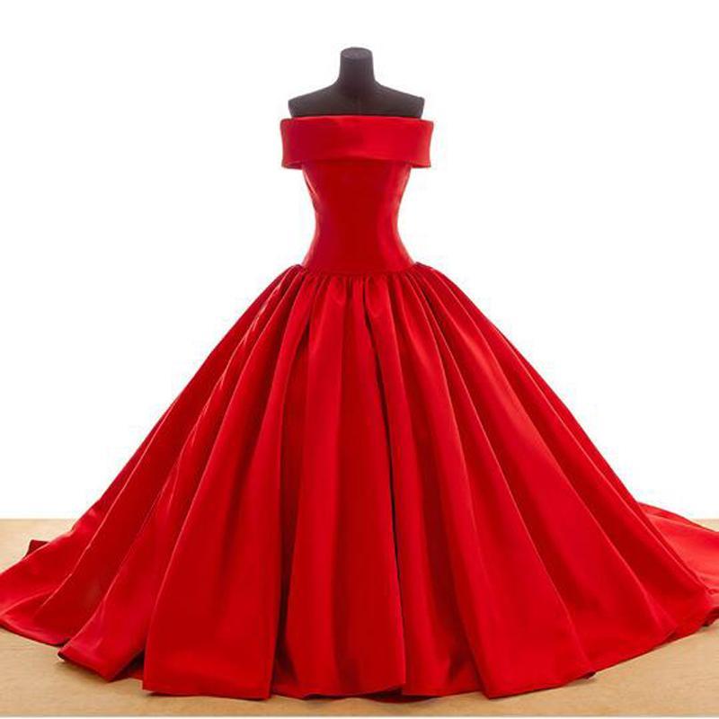 Formales design trägerlosen ballkleid satin plissiert rotes hochzeitskleid schnüren zurück robe de mariage gute qualität