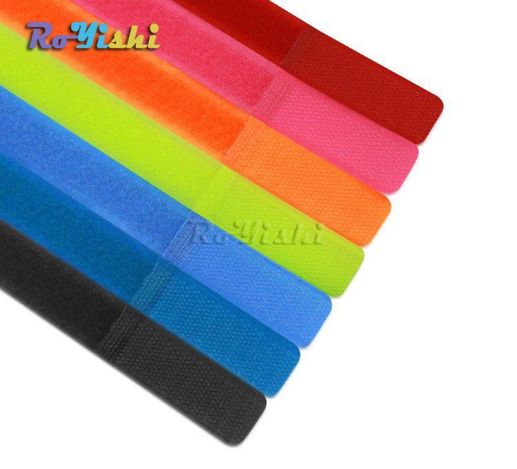 100pcs / lot 다채로운 재사용 가능한 나일론 매직 테이프 후크 루프 케이블 코드 넥타이 딱딱한 스트랩 구성