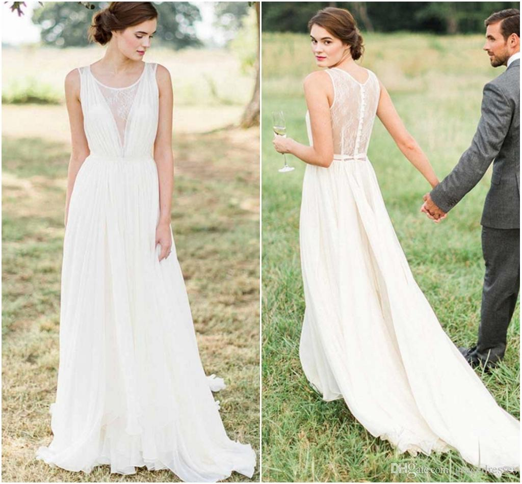 Discount Greek Wedding Dress Sheer Lace Round Neckline A Line Pleats