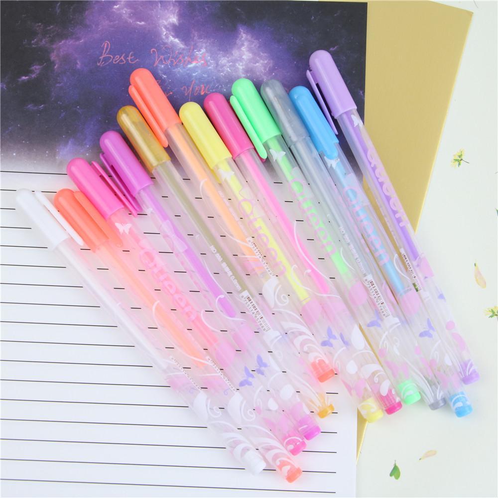 Wholesale-0.8mm Kawaii Candy Color Princess Style Multicolor Gel Ink Pen Escolar Stationery Papelaria School Office Supplies