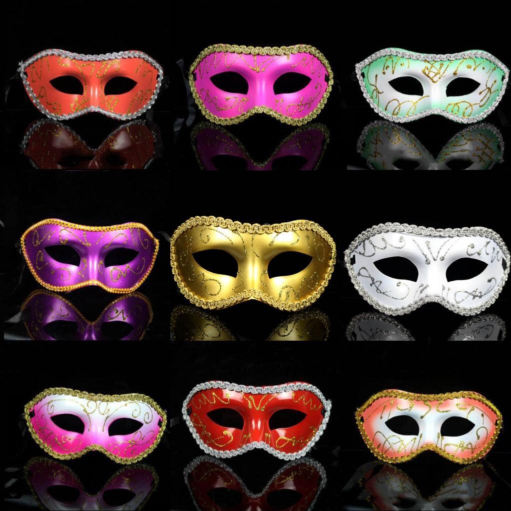 Men Fashion Painted Edge Masquerade Masks Halloween Party Colored Drawing Surrounding Edge Face Masks Half Face Bar Carnival Masks