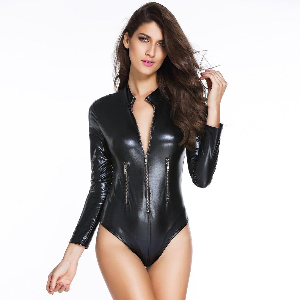 여자 블랙 PVC 가죽 긴 소매 바디 슈트 장대 댄스 의상 뜨거운 섹시한 클럽 고딕 페티쉬 라텍스 의상 앞 지퍼와 함께