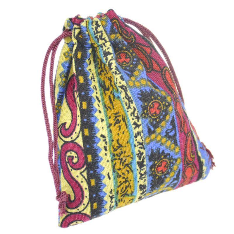 JLB الرباط الحقائب والمجوهرات حقيبة عيد الميلاد زفاف مصر والهند نمط غامض ملون القطن هدية حزمة حقيبة 9.5x11.5 سنتيمتر
