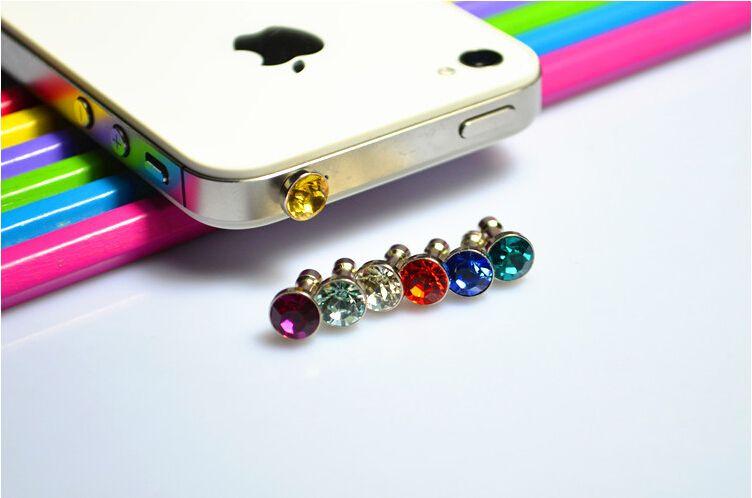 Cell Phone Anti Dust Plug Dustproof Crystal Diamond 3.5mm Earphone Jack Plug for Smartphone Headset Headphone FREE SHIPPING WHOLESALE