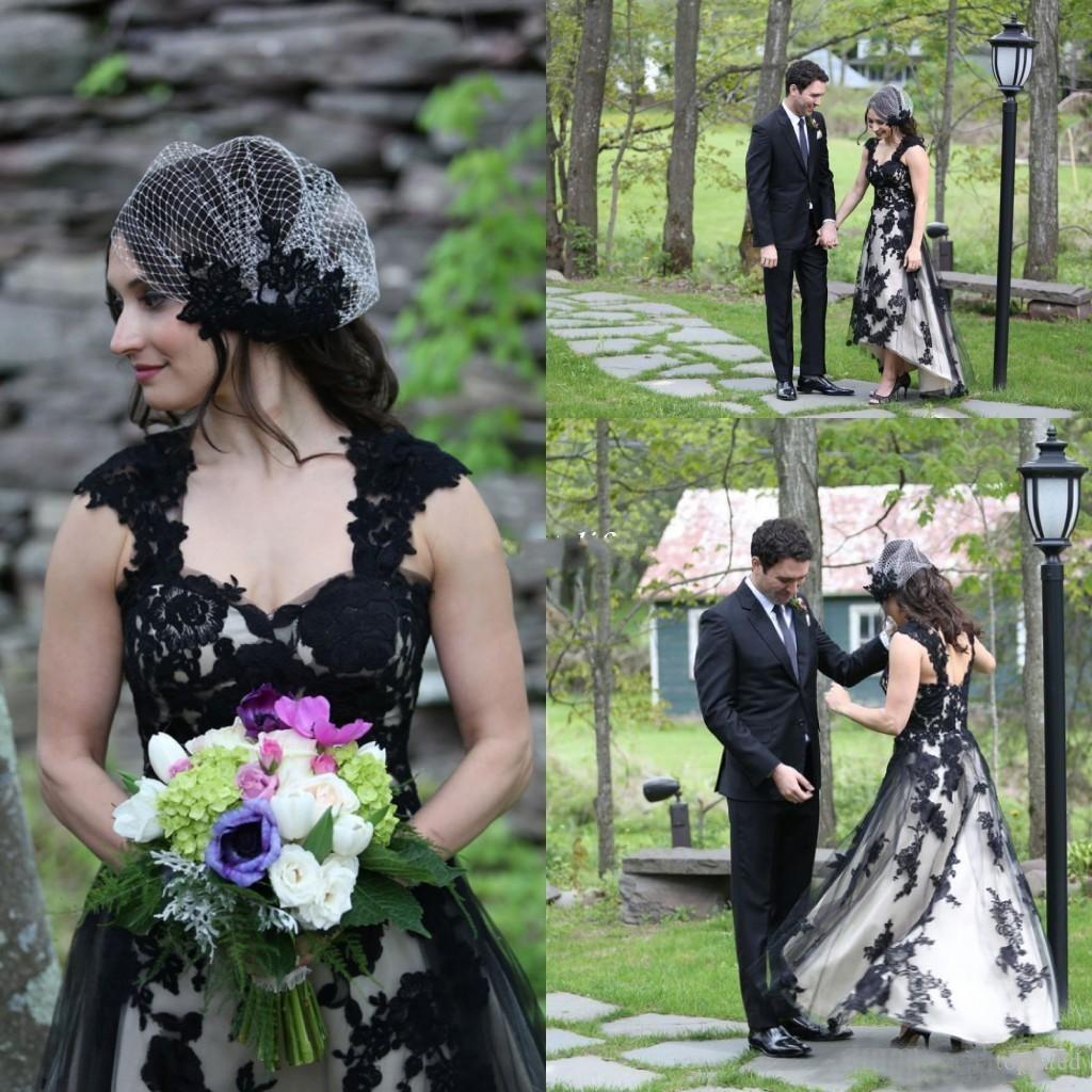 Старинные черный и белый высокий низкий свадебные платья 2016 новое прибытие кружева аппликация назад зашнуровать портрет свадебные платья на заказ EN53116