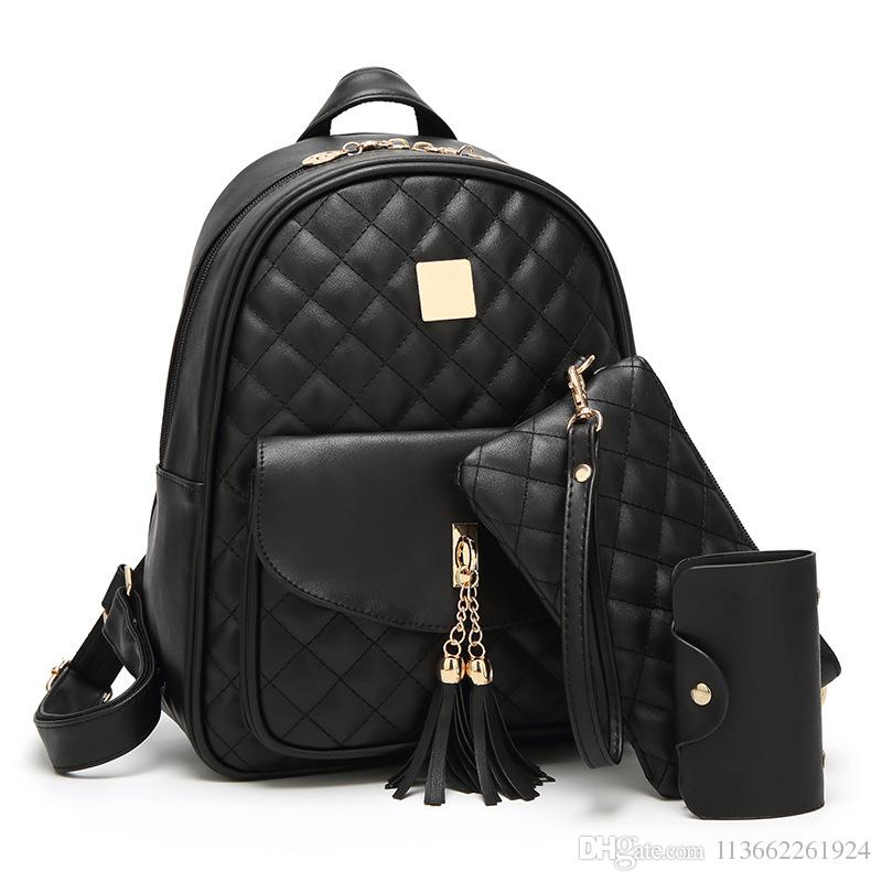 5df4729ae Western style Retro black backpack fashion Three piece suit black leather  backpack laptop backpack for women