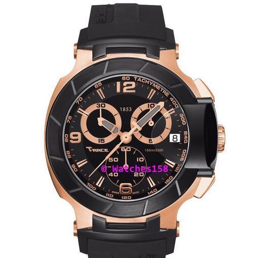Free Shipping Men's T048 Quartz Watch T048.417.27.067.06 T-Sport T-Race MotoGP Rose Gold CHRONOGRAPH T0484172706706