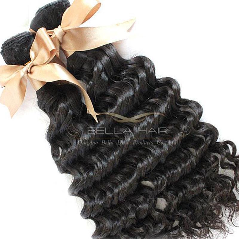 高級ブラジルのヘアエクステンション髪織り4個/ロトバージンヒトの髪の深い波自然色ベラエア