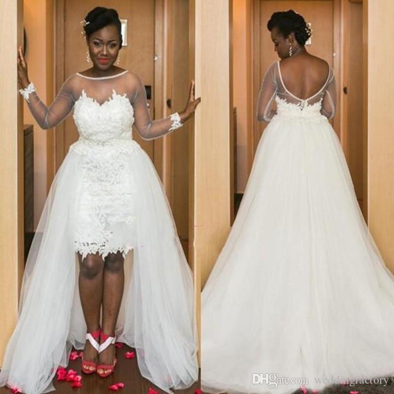 Populaire country trouwjurken met afneembare tule rok Sheer Bateau Hals Illusion Lange mouwen Open Terug Afrikaanse bruidsjurken