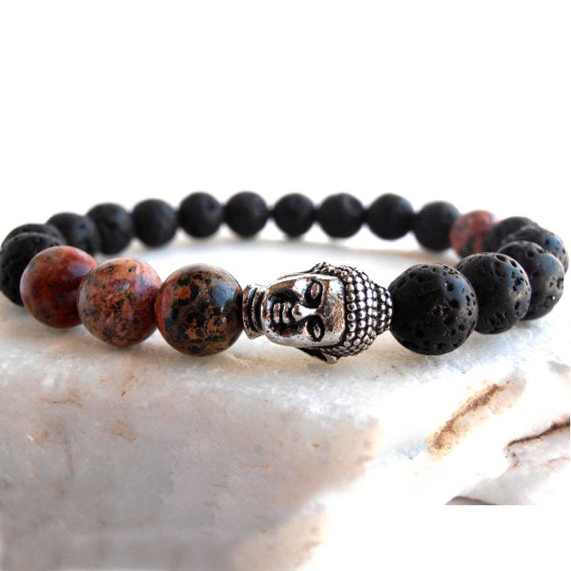 SN0563 Heißer Verkauf Persönliche Herren Jasper Buddha armband Lavastein armband Leopardenfell Jasper armband für Männer