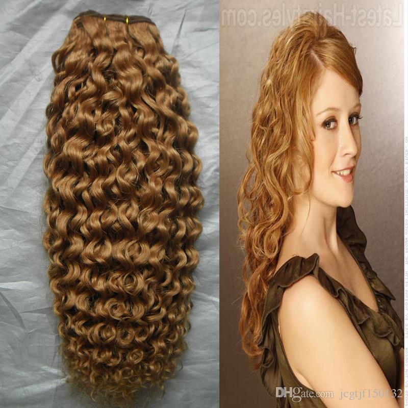 브라질 곱슬 머리 곱슬 머리 묶음 벌꿀 금발 짜기 머리 100g 허니 금발 브라질 머리 짜기