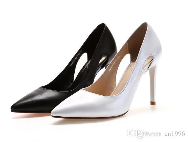 2017 высокое качество женская мода натуральная кожа высокие каблуки указал Белый свадебные туфли тонкие каблуки выдалбливают обувь, size34-39