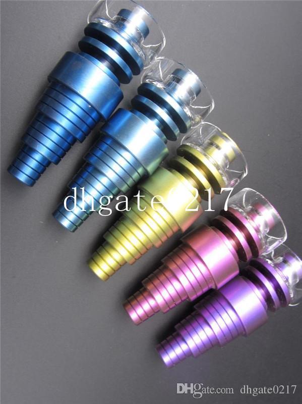 2016 plus récent coloré Domeless Titanium Nail 10mm 14mm 18mm Joint Rainbow 6 IN 1 Titanium Nail Pour Mâle et Femelle Verre bongs livraison gratuite