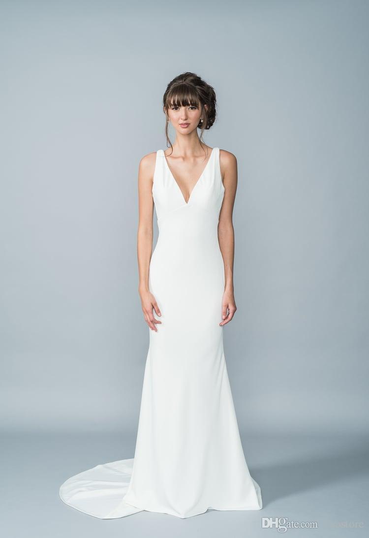 Elegant White Lace Back Wedding Dresses Mermaid 2016 Deep V Neckline ...