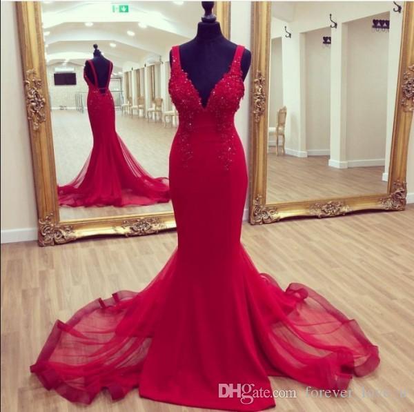 Elegante Sexy Sereia Red Vestidos profunda Pescoço V Backless Beads Lantejoulas Lace apliques Charming Prom Vestidos Tulle Train Custom Made