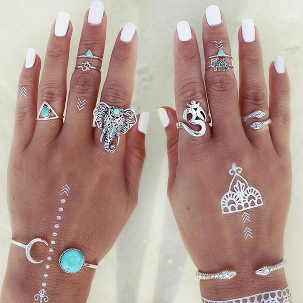 High End Punk Style Retro Vintage Turquoise Snake Elephant Triangle Charm Wedding Bands Party Rings For Lovers Fashion Jewelry 8 Pieces