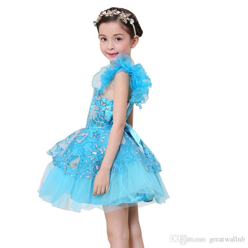 Navire gratuit enfants filles paillettes vert / bleu tutu danse latine fleurs broderie robe luxe danse fée scène performance performance