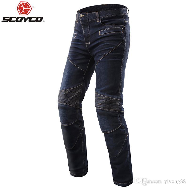 SCOYCO P043 calças de brim proteção protetor de joelho calça motociclista correndo calças pantalones lazer moto azul / preto