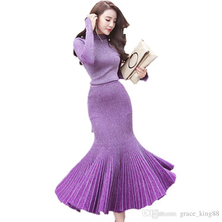 Autumn Winter New style Fashion Women's sweater Dress Knitdress Sexy party Dress Long sleeve Fashion beautiful skirt Dress Suit