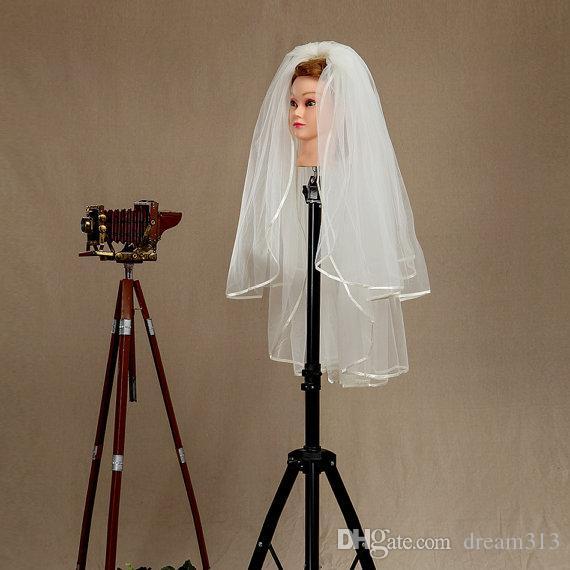 Hight Quality Длина локтя белая слоновая кость шампанское свадьба вуаль локоть длина двухслойных свадебной вуаль ленты край