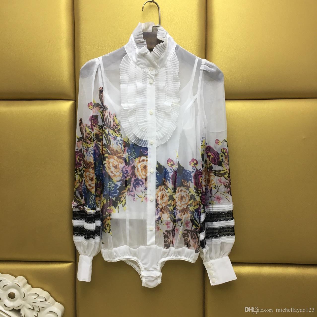 2017 أسود / أبيض موقف المحكمة طويلة الأكمام المرأة البلوزات خمر طباعة الكشكشة الحرير قميص المرأة DH336