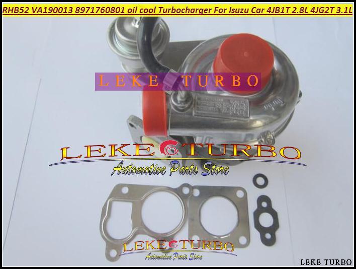Turbo For ISUZU Car Engine 4JB1T 2.8L 4JG2T 3.1L RHB52 VA190013 8971760801 oil cooled Turbocharger with Gaskets