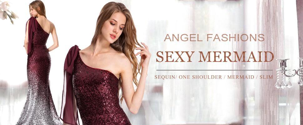 Angel-fashions Women Asymmetric Ribbon Gradual Sequin Mermaid Long Dress 286