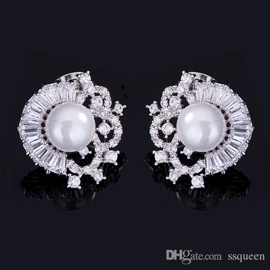 18*18mm luxury pearl stud earrings charming jewelry high grade brilliant Clear CZ diamond for women