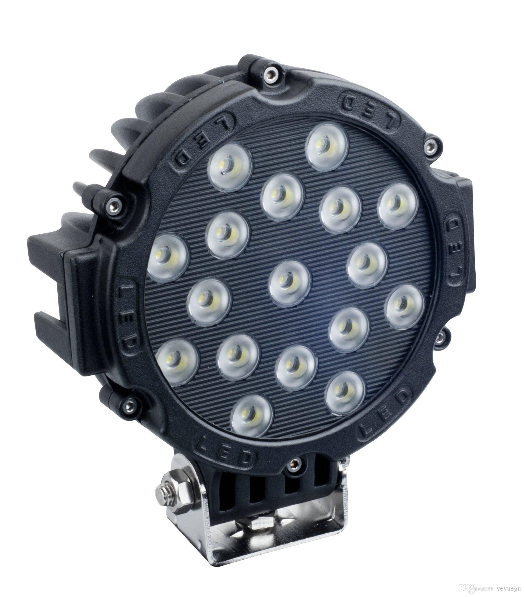 7Inch 51W Car Round LED Work Light 12V High Power 17 X 3W Spot Light For 4x4 Offroad Truck Tractor ATV SUV Driving