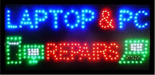 hot sale low power led sign 15.5x27.5 inch indoor Ultra Bright flashing LAPTOP AND PC REPAIRS shop electronic signboard