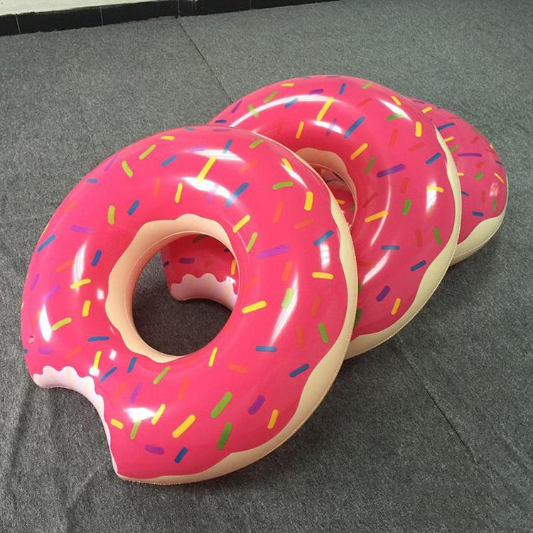 2016 sommer wasser toys 48 zoll gigantischen donut schwimmen float aufblasbare schwimmring 2 farben (erdbeere und schokolade)