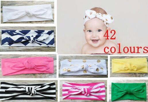 20pcs/lotHigh Quality 42 colors Cotton Headbands Baby Girls Knot Headband Knot Head Warp Hair Bands Children's Bow Head Wrap