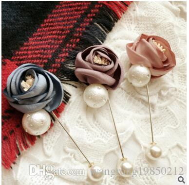 Delicate and fashionable OL rose pearl cloth fabric pectoral flower brooch have 2 styles 7 colors please note you want styles and colors