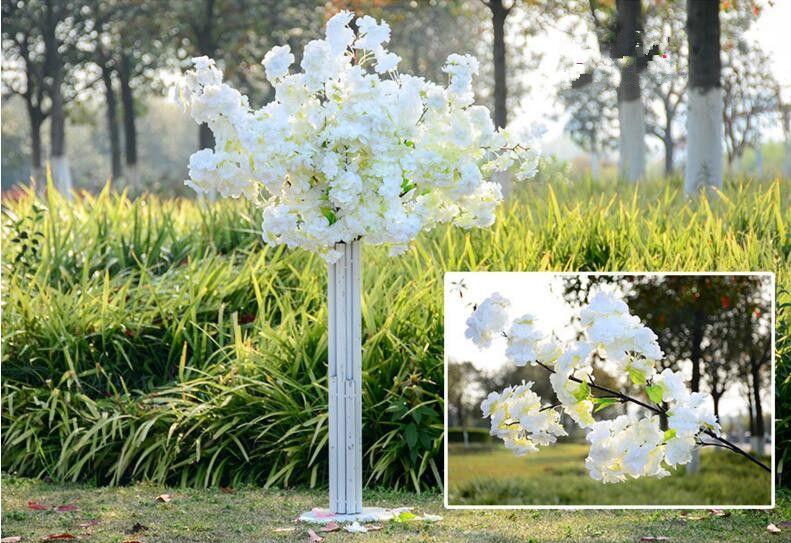1 متر طويلة أربعة فروع كل باقة محاكاة زهر الكرز الزفاف قوس ديكور زهرة ديكور المنزل غرفة المعيشة