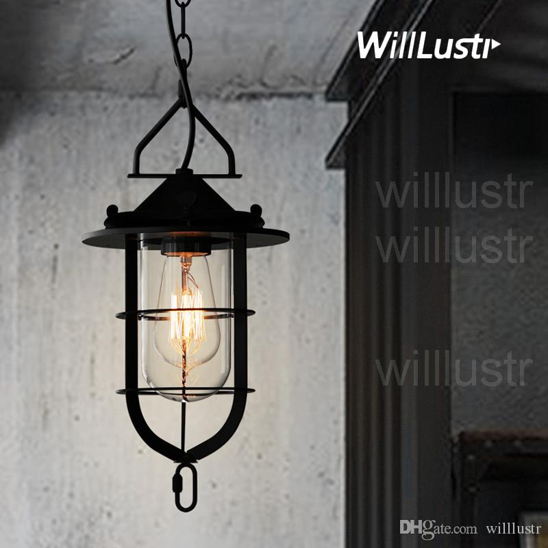 Willlustr metal dock suspension lamp iron frame glass pendant light hotel hall restaurant loft foyer dinning living room hanging lighting