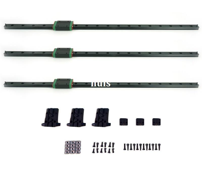 Freeshipping 3pcs/lot 3D Printer Kit Kossel Delta Linear Rail 460mm Length with Slide Block