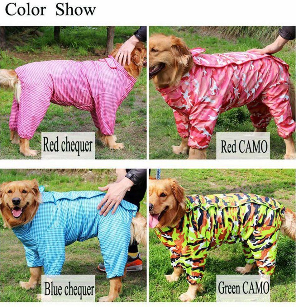 Outdoor clothing Large Dog raincoat 4 Colors for Big dogs waterproof pet clothes coat With hat Size 20 - 30 Red Blue and Green