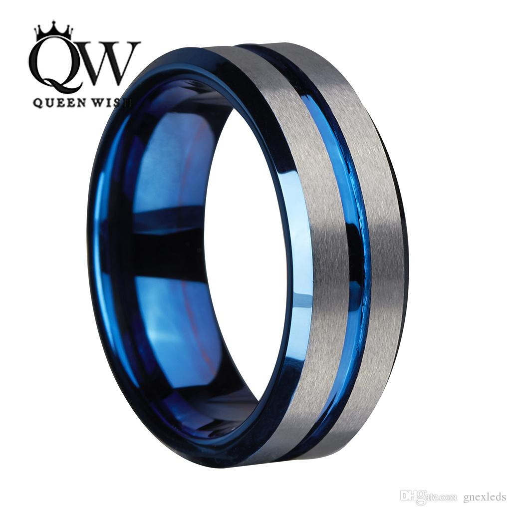 8mm Blue Tungsten Carbide Ring for Men and Women Silver Brushed and Black Stripe Wedding Bands Promise Engagement Ring Fashion Jewelry