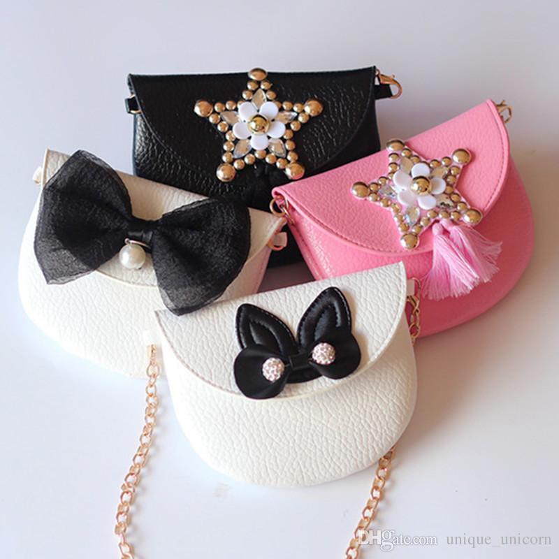 Children Baby Shoulder Handbag Gold Bow Girls Bag Stylish Kids