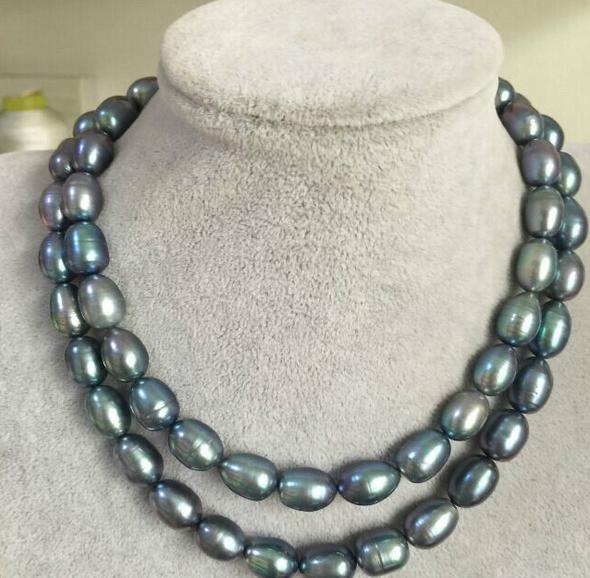 Noble double strands 12-13mm natural tahitian black blue pearl necklace 18-20inch 14K gold clasp